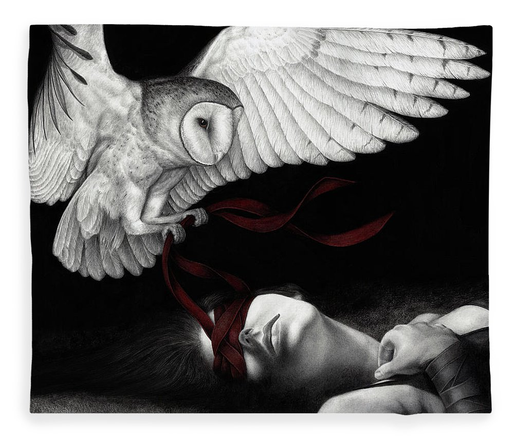 Woman Fleece Blanket featuring the painting On Silent Wings by Pat Erickson