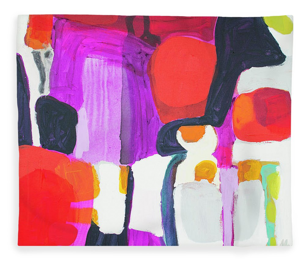 Abstract Fleece Blanket featuring the painting On Time by Claire Desjardins
