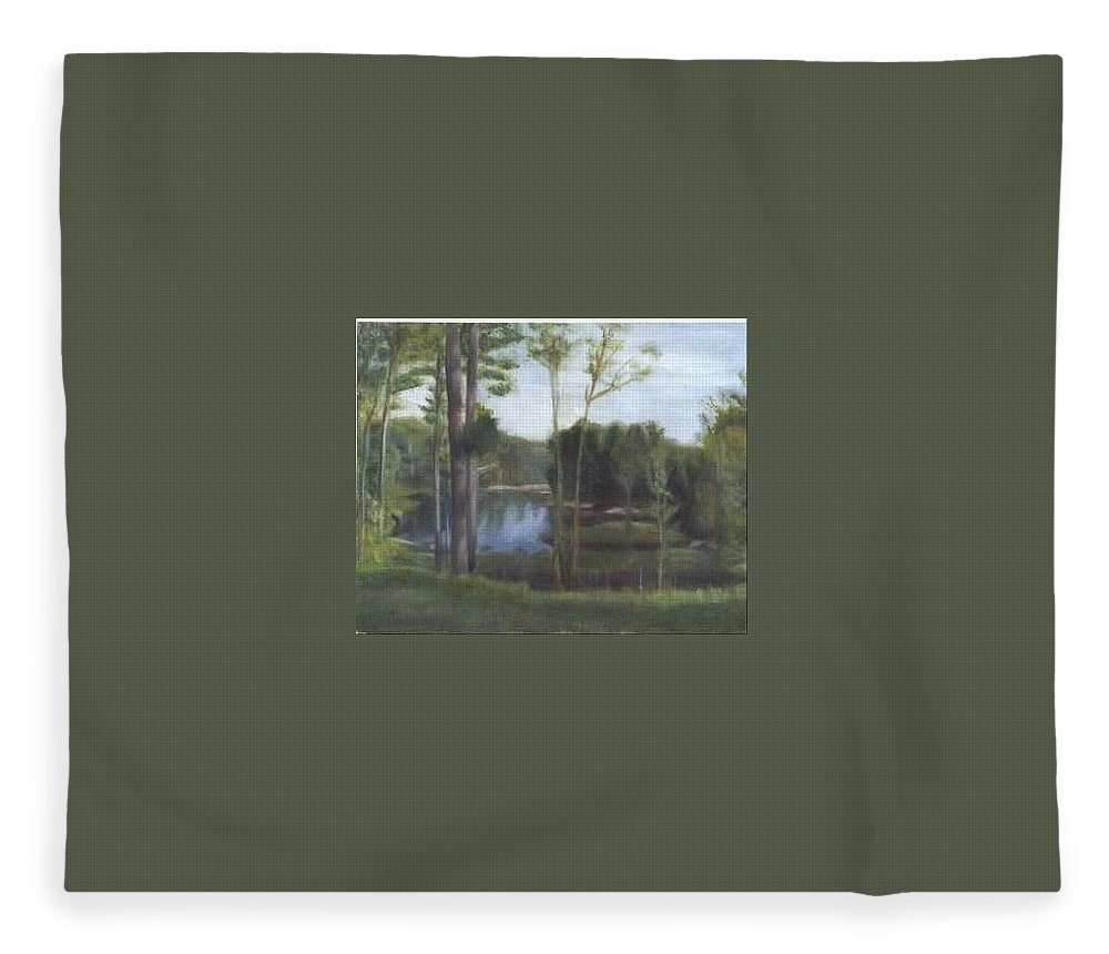 Landscape Fleece Blanket featuring the painting Once by Sheila Mashaw