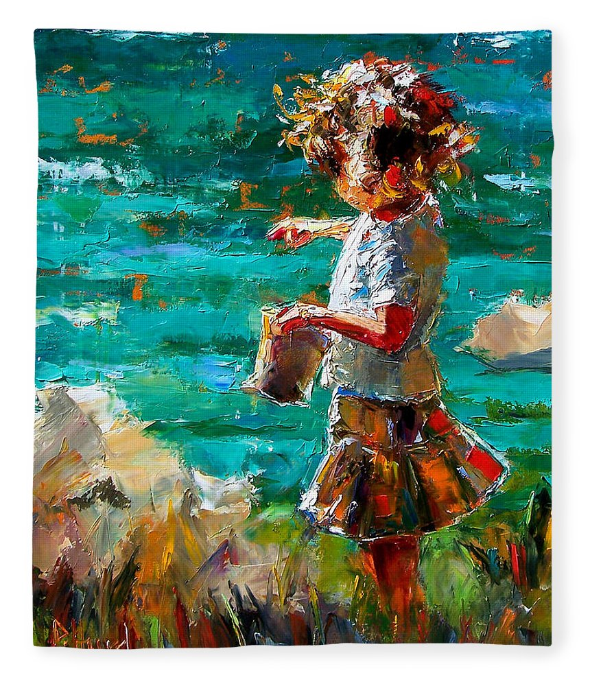 Children Fleece Blanket featuring the painting One At A Time by Debra Hurd