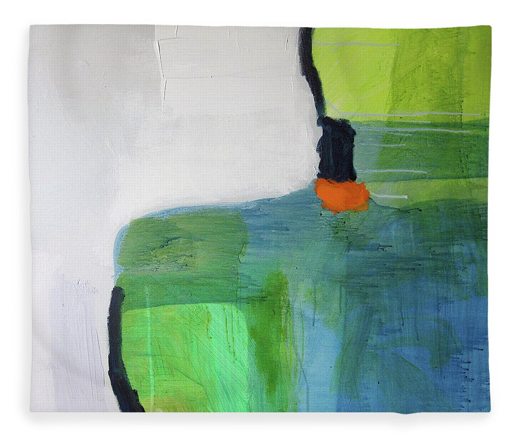 Abstract Fleece Blanket featuring the painting One Day I Was Dreaming by Claire Desjardins