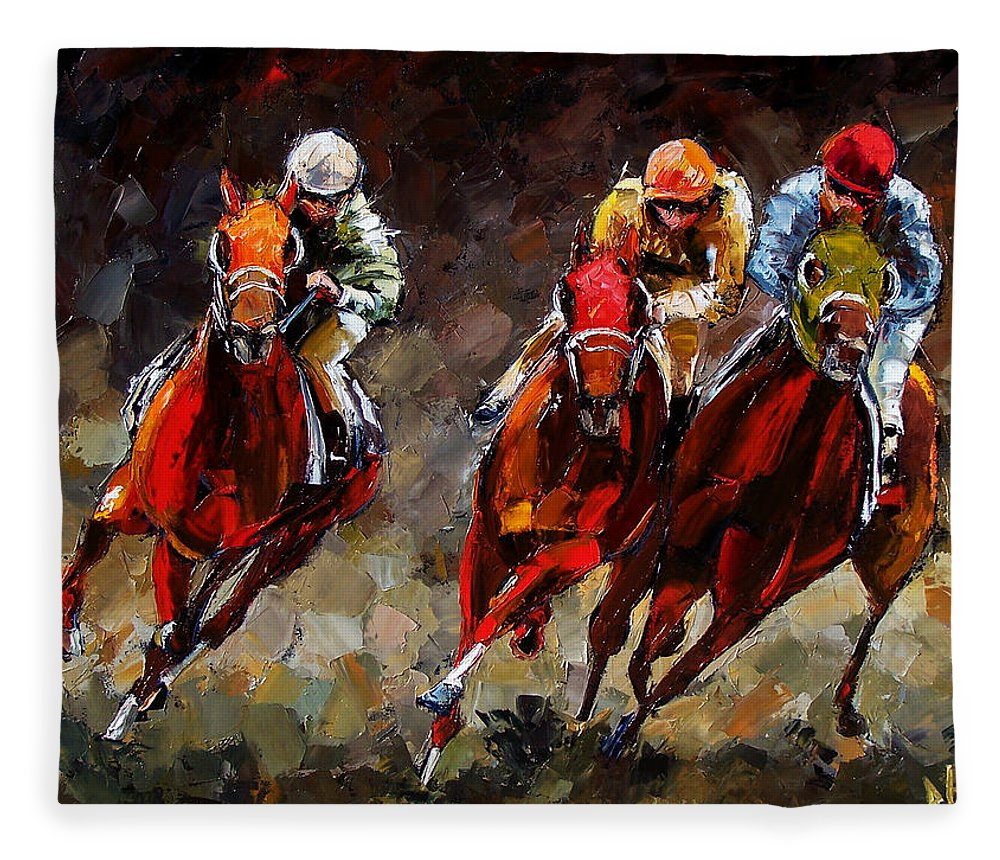 Horse Race Fleece Blanket featuring the painting Opening Day by Debra Hurd