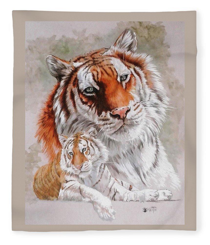 Wildcat Fleece Blanket featuring the mixed media Opulent by Barbara Keith
