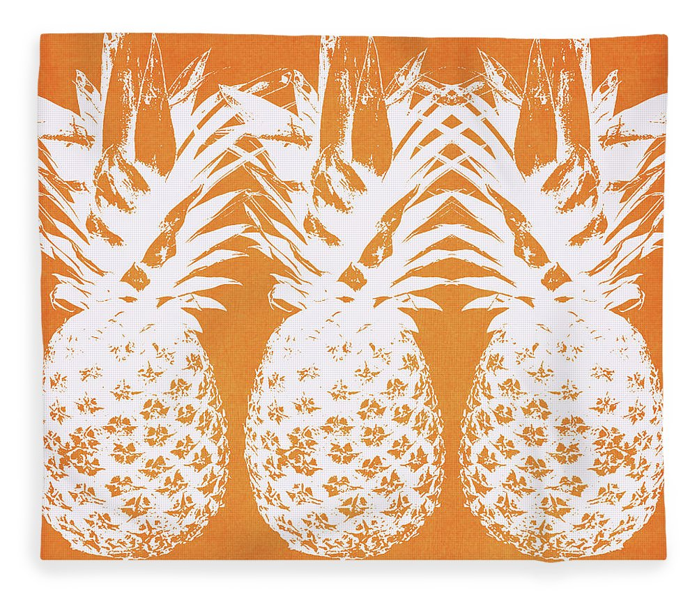 Pineapple Fleece Blanket featuring the painting Orange And White Pineapples- Art By Linda Woods by Linda Woods