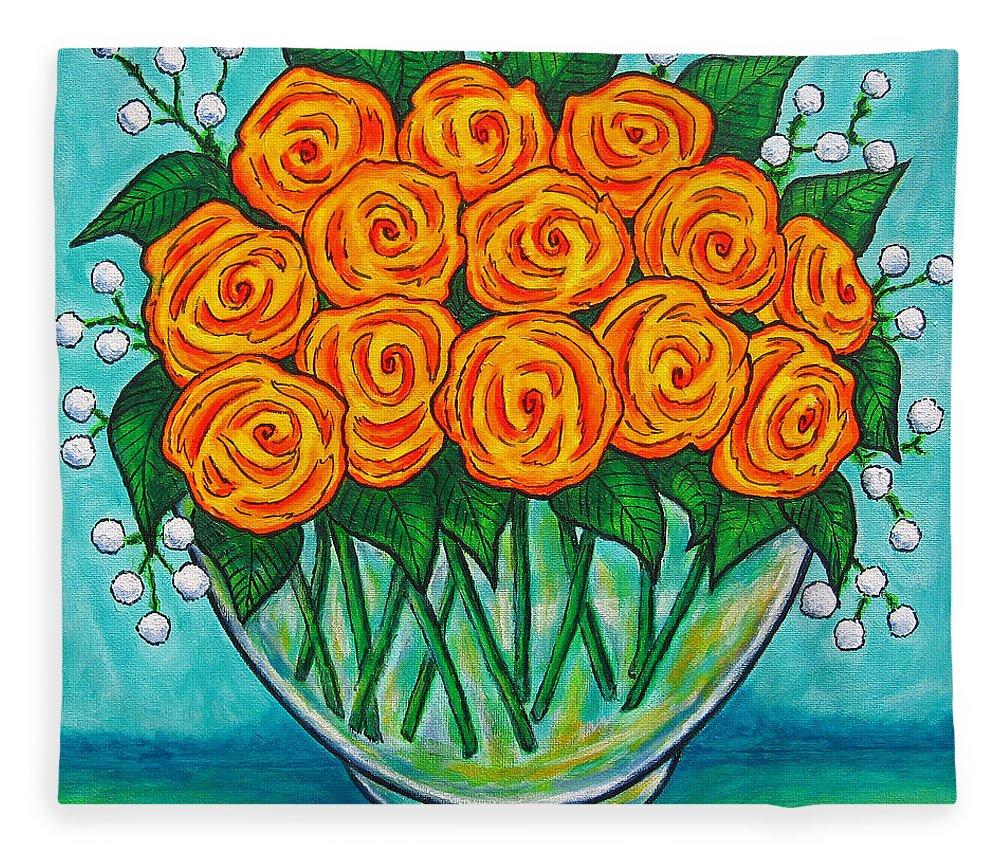 Orange Fleece Blanket featuring the painting Orange Passion by Lisa Lorenz