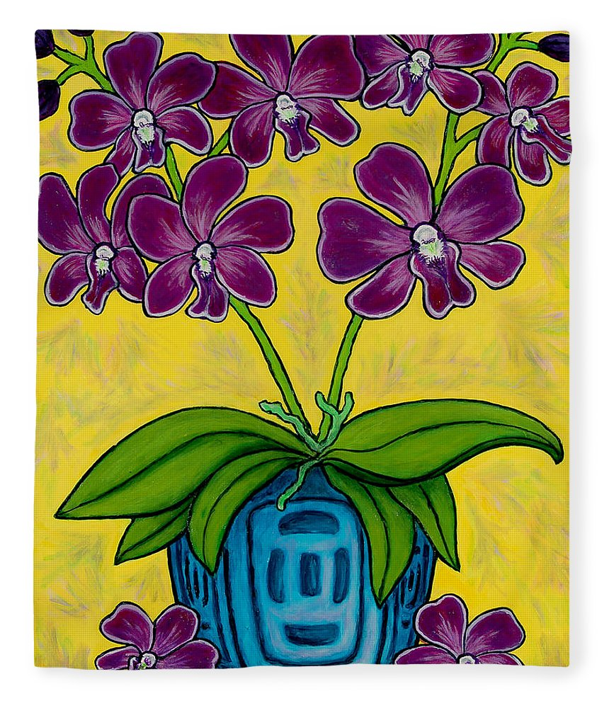 Orchids Fleece Blanket featuring the painting Orchid Delight by Lisa Lorenz