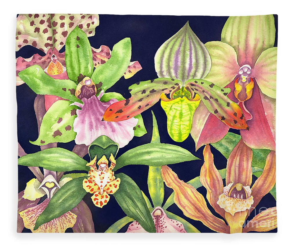 Orchids Fleece Blanket featuring the painting Orchids by Lucy Arnold