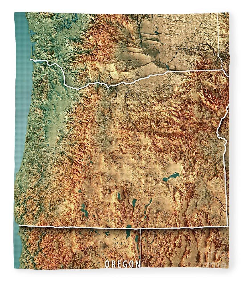 Oregon State Usa 3d Render Topographic Map Border Fleece Blanket for