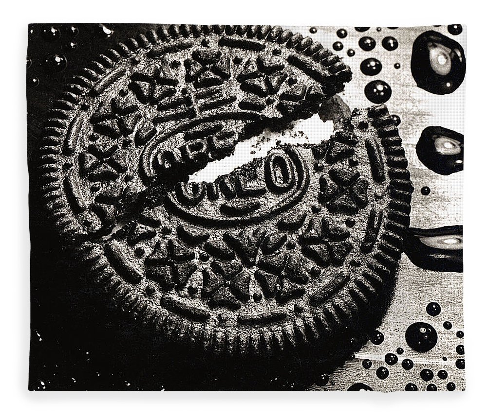 Cookie Fleece Blanket featuring the photograph Oreo Cookie by Nancy Mueller