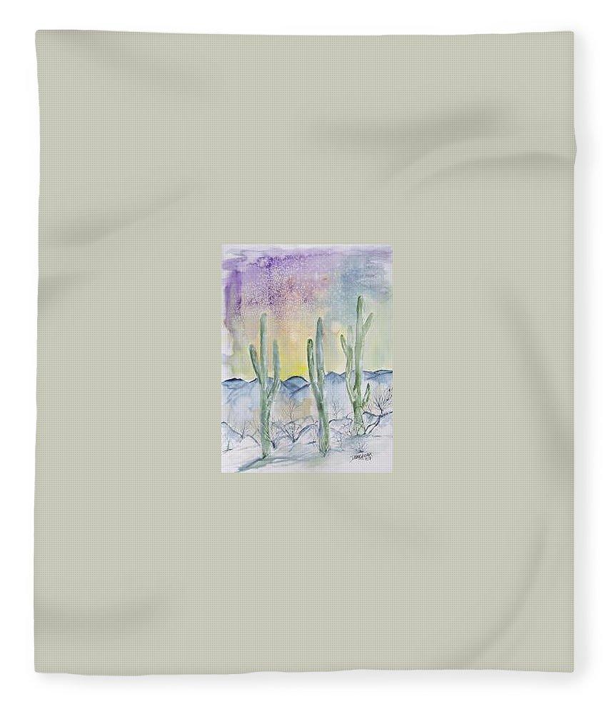 Impressionistic Fleece Blanket featuring the painting Organ Pipe Cactus desert southwestern painting poster print by Derek Mccrea