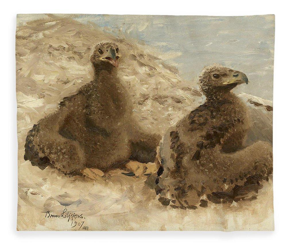 Swedish Art Fleece Blanket featuring the painting Ornungar by Bruno Liljefors