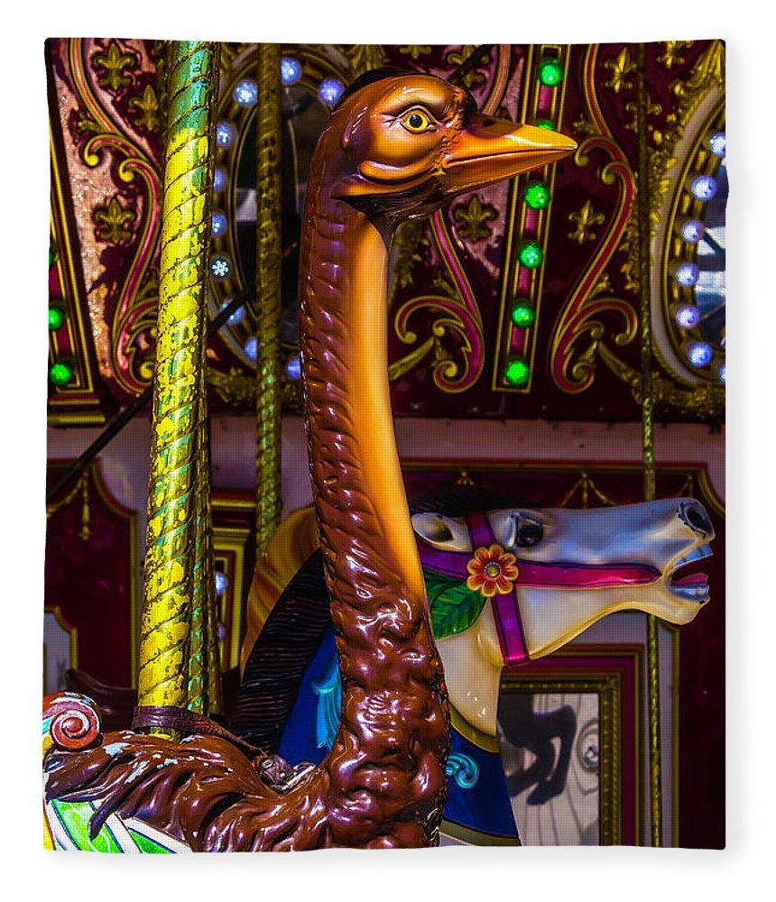 Ostrich Carrousel Fleece Blanket featuring the photograph Ostrich Fair Ride by Garry Gay