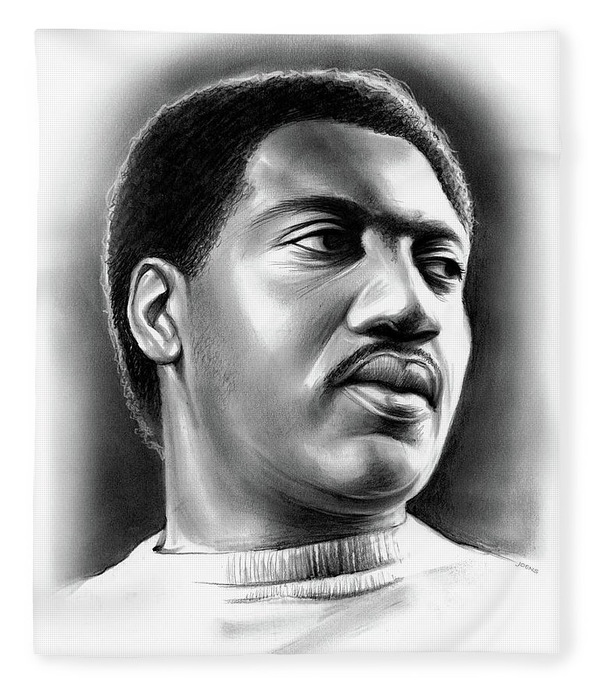 Otis Redding Fleece Blanket featuring the drawing Otis Redding by Greg Joens