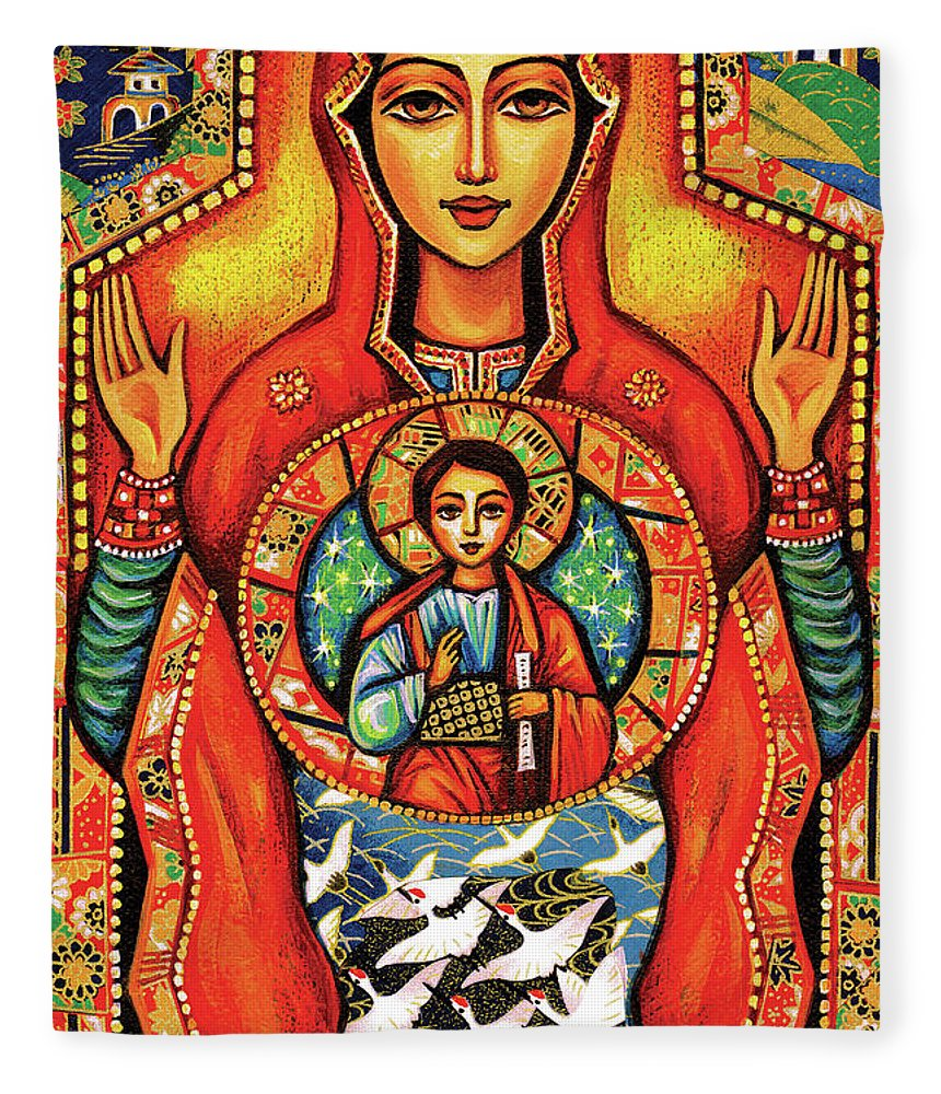 Mother And Child Fleece Blanket featuring the painting Our Lady Of The Sign by Eva Campbell