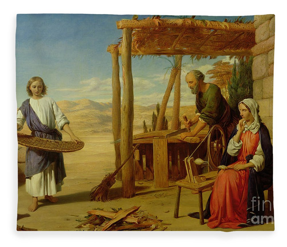 Pre-raphaelite Fleece Blanket featuring the painting Our Saviour Subject To His Parents At Nazareth by John Rogers Herbert