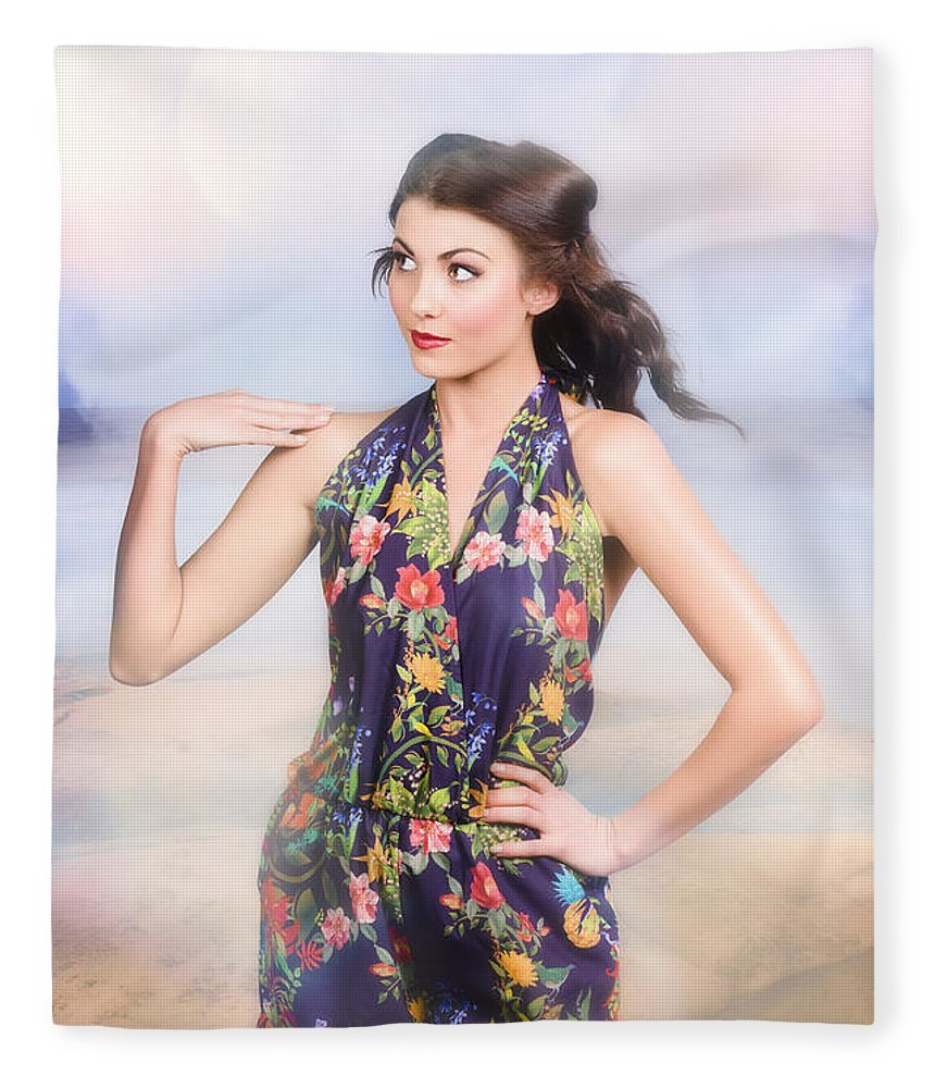 Fashion Fleece Blanket featuring the photograph Outdoor Fashion Portrait. Spring Twilight Beauty by Jorgo Photography - Wall Art Gallery