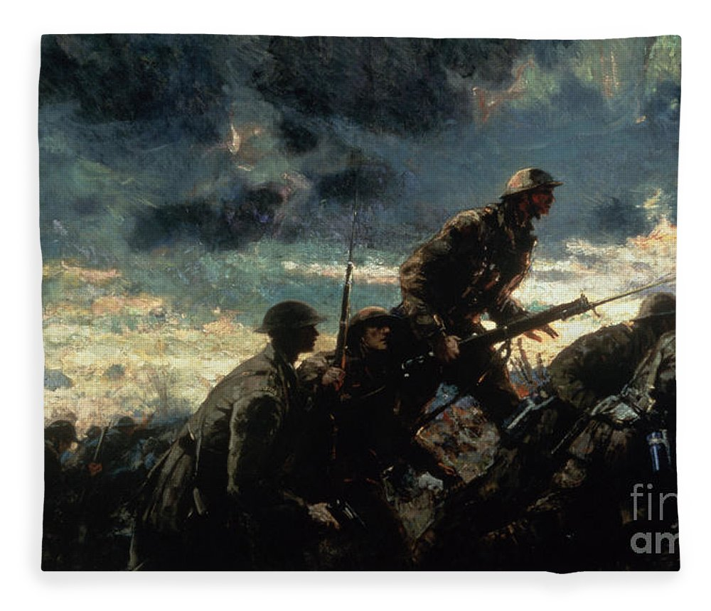 Over The Top Fleece Blanket featuring the painting Over The Top by Alfred Bastien