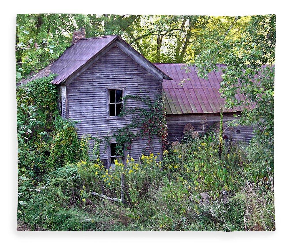 Overgrown Fleece Blanket featuring the photograph Overgrown Abandoned 1800 Farm House by Douglas Barnett