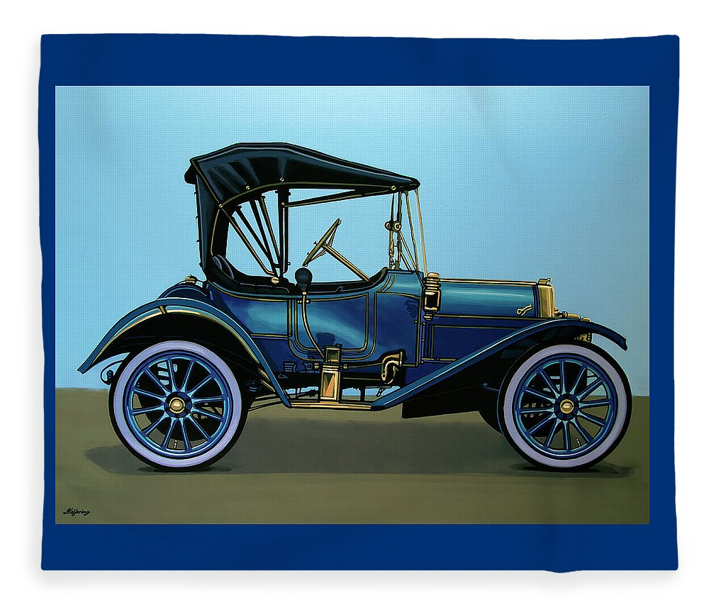 Overland Fleece Blanket featuring the painting Overland 1911 Painting by Paul Meijering