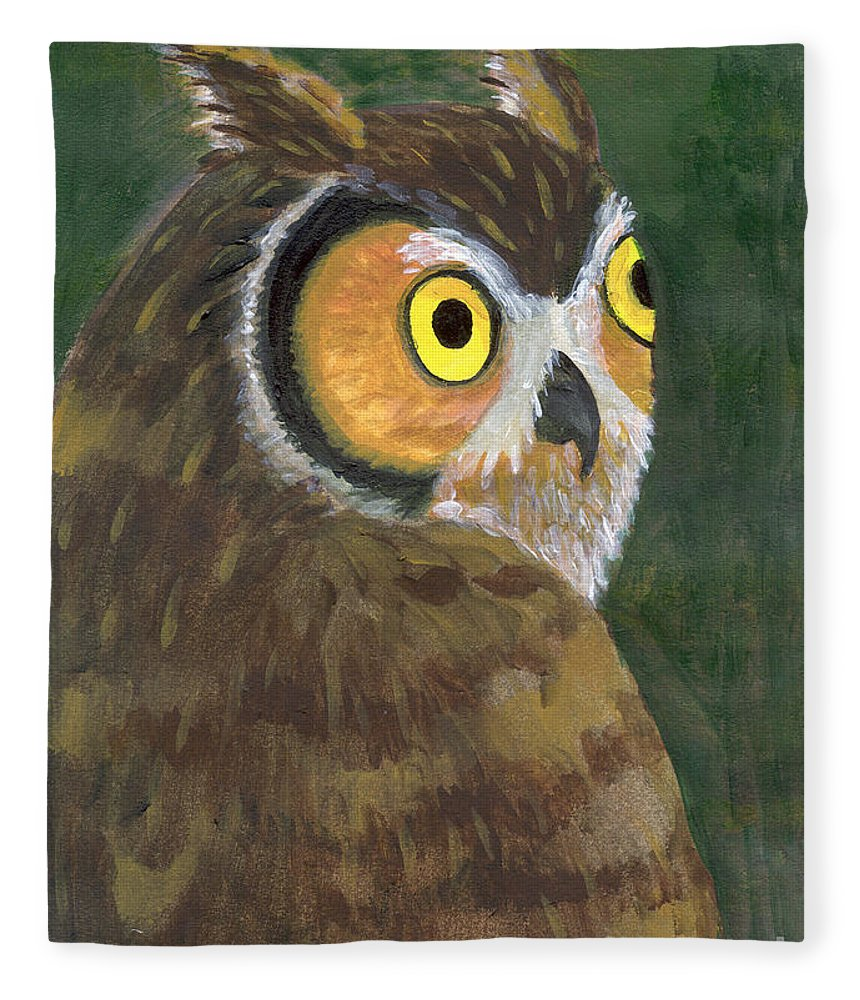 Owl Fleece Blanket featuring the painting Owl 2009 by Lilibeth Andre