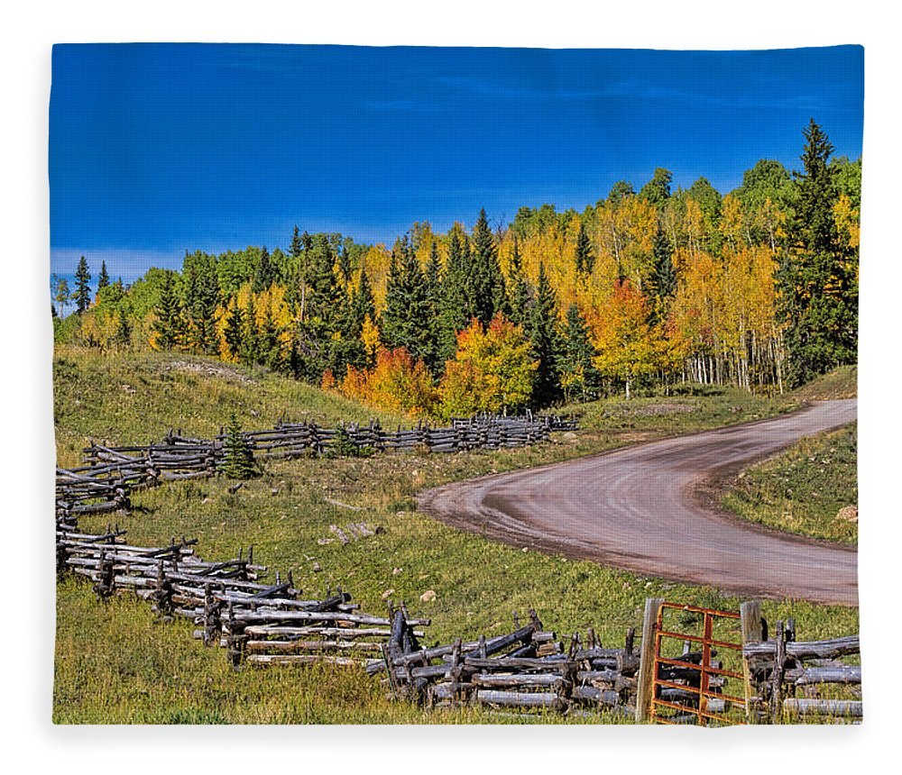 Fall Color Fleece Blanket featuring the photograph Owl Creek Pass Road by Alana Thrower