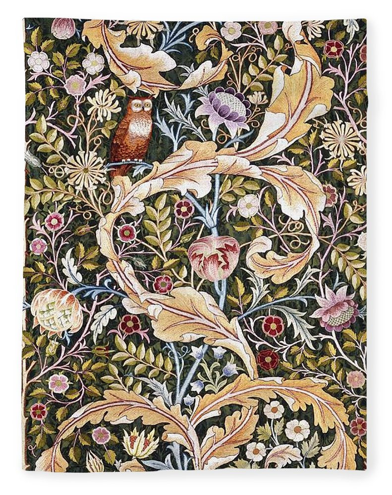 William Morris Fleece Blanket featuring the painting Owl by William Morris