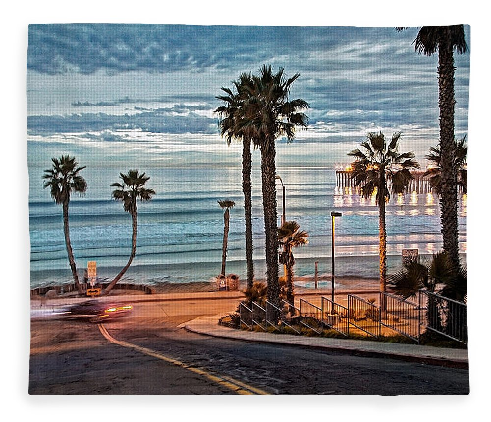 Oceanside Fleece Blanket featuring the photograph Pacific And 1st Street by Ann Patterson