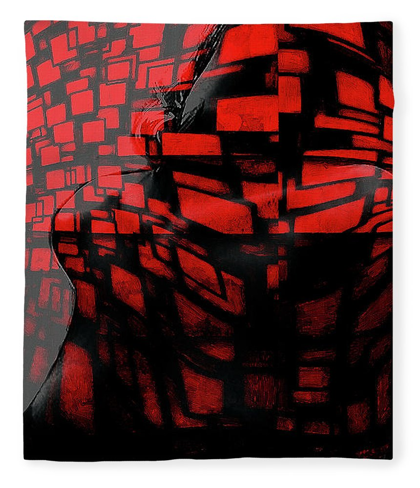 Pain Girl Female Woman Nude Naked Red Erotic Curves Boobs Tits Sensual Sex Sexy Love Lover Sensual Desire Seduction Fleece Blanket featuring the painting Pain In Red by Steve K