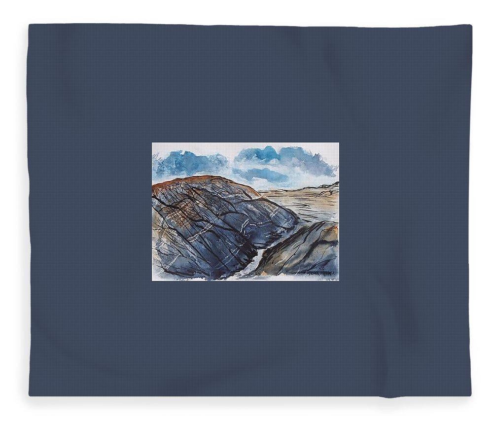 Plein Air Fleece Blanket featuring the painting Painted Desert landscape mountain desert fine art by Derek Mccrea