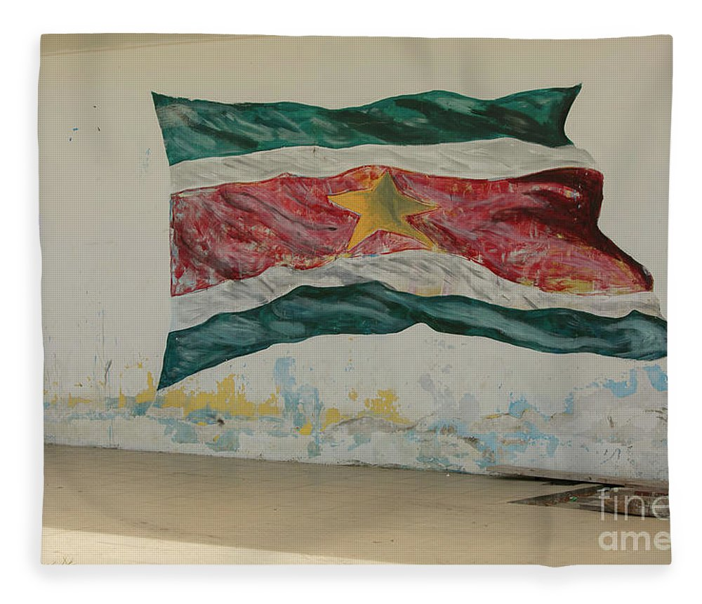 Flag Fleece Blanket featuring the photograph Painted Flag Of Suriname by Patricia Hofmeester