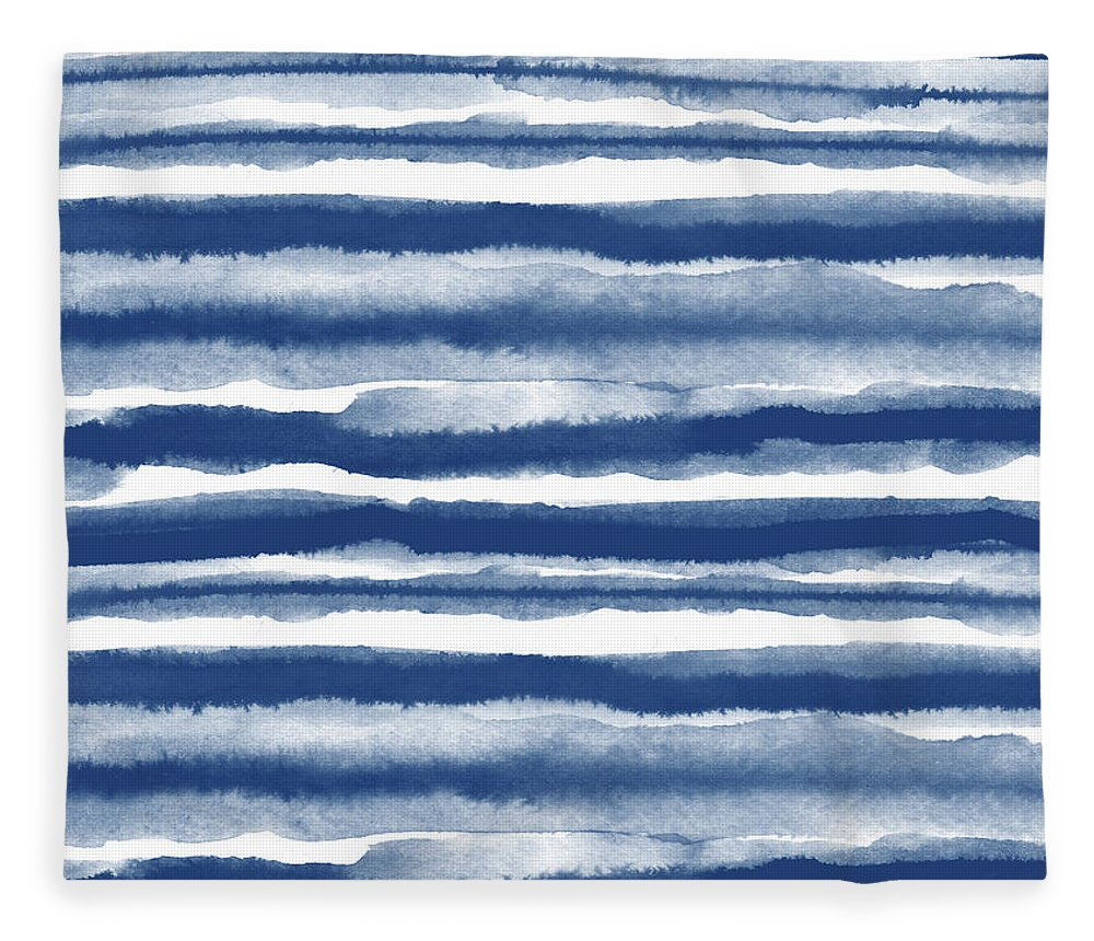Stripes Fleece Blanket featuring the mixed media Painterly Beach Stripe 3- Art By Linda Woods by Linda Woods