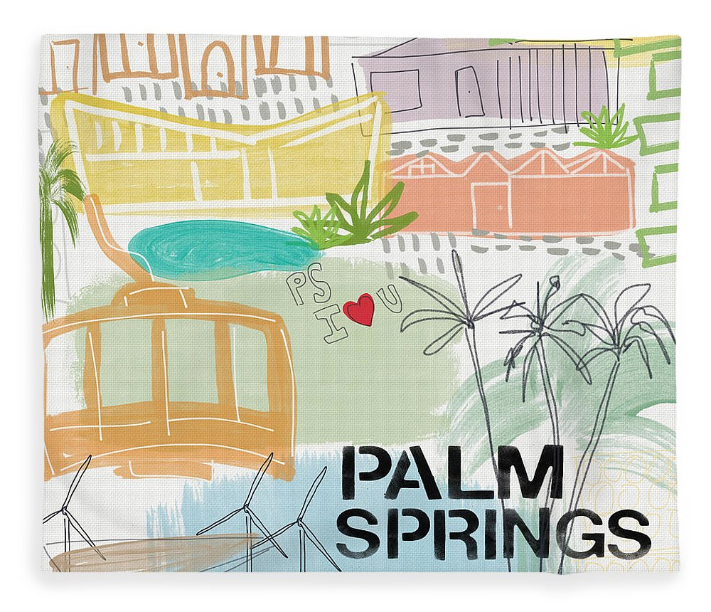 Palm Springs California Fleece Blanket featuring the painting Palm Springs Cityscape- Art by Linda Woods by Linda Woods