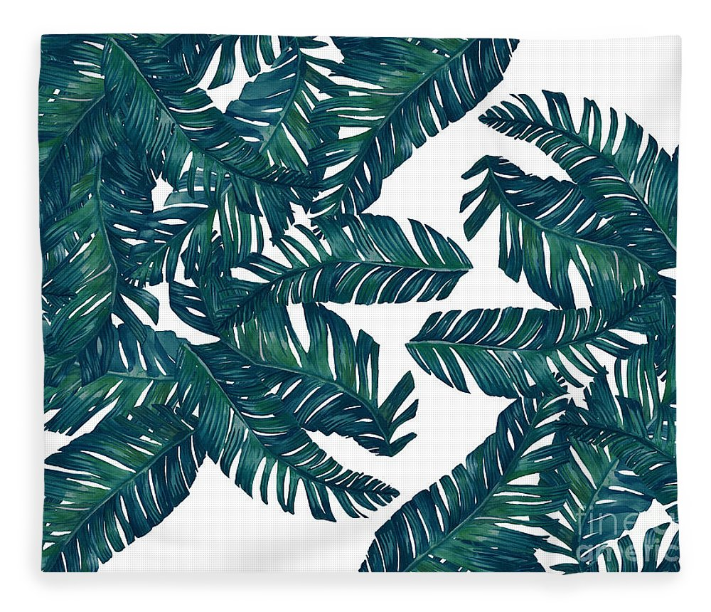 Summer Fleece Blanket featuring the digital art Palm Tree 7 by Mark Ashkenazi
