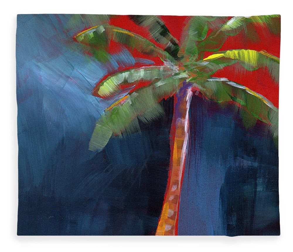 Palm Tree Fleece Blanket featuring the painting Palm Tree- Art by Linda Woods by Linda Woods