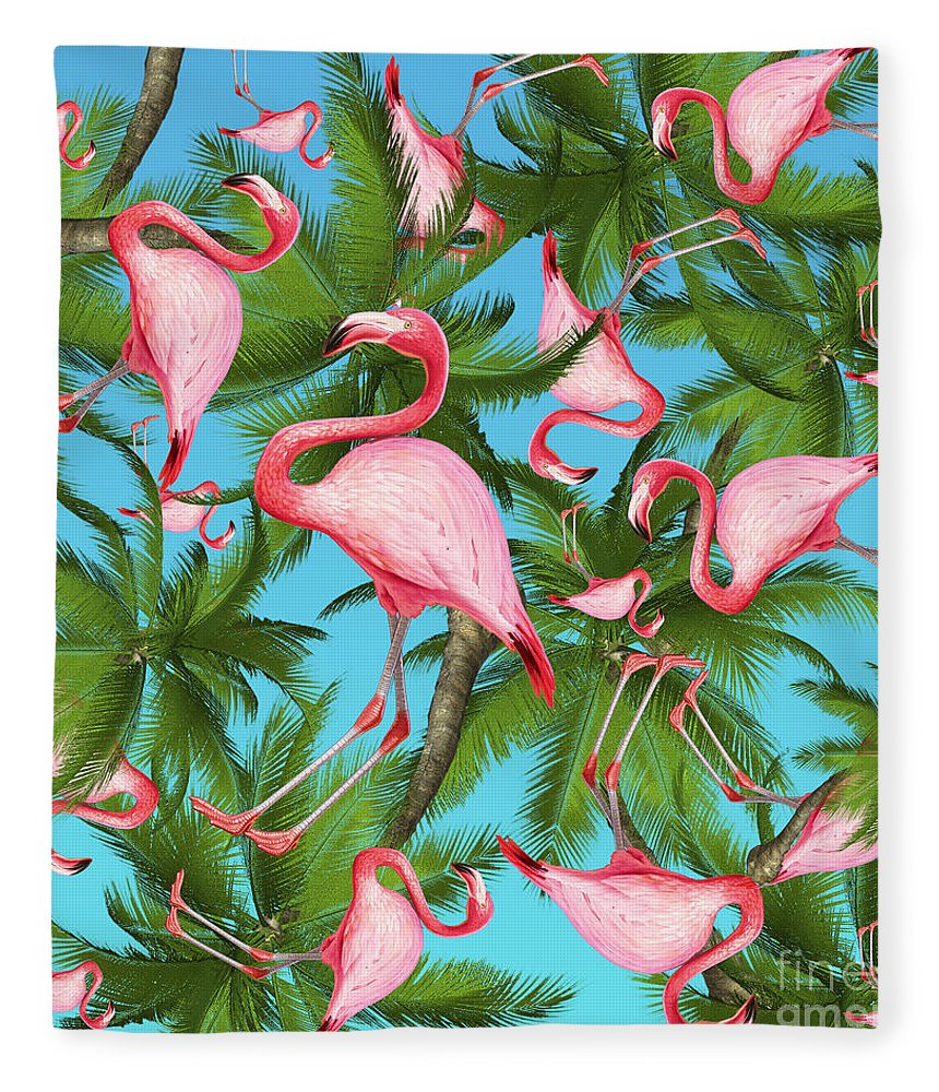 Summer Fleece Blanket featuring the digital art Palm tree by Mark Ashkenazi