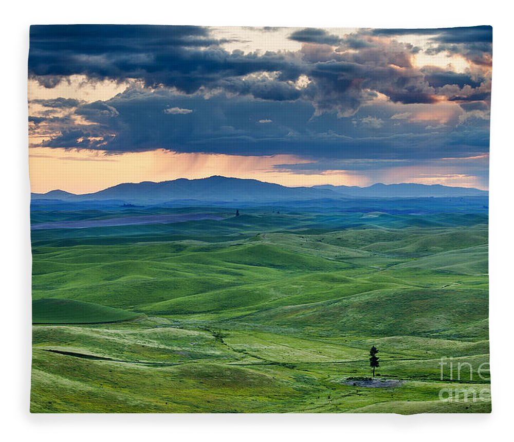 Palouse Hills Fleece Blanket featuring the photograph Palouse Storm by Mike Dawson