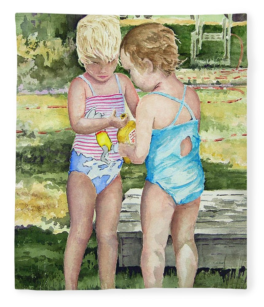 Children Fleece Blanket featuring the painting Pals Share by Sam Sidders