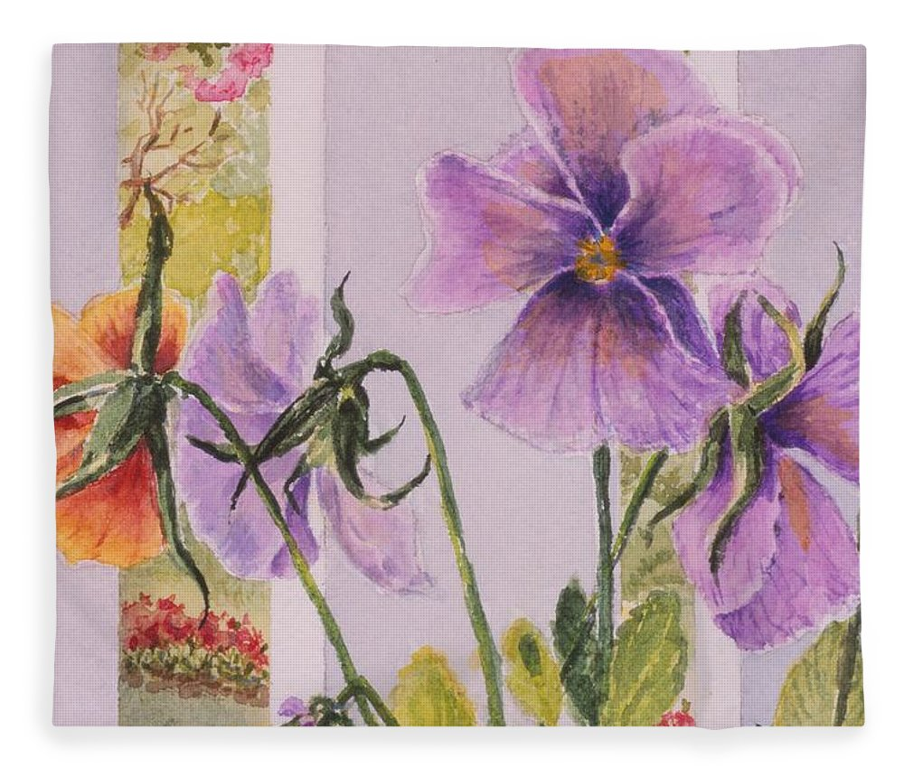 Florals Fleece Blanket featuring the painting Pansies On My Porch by Mary Ellen Mueller Legault