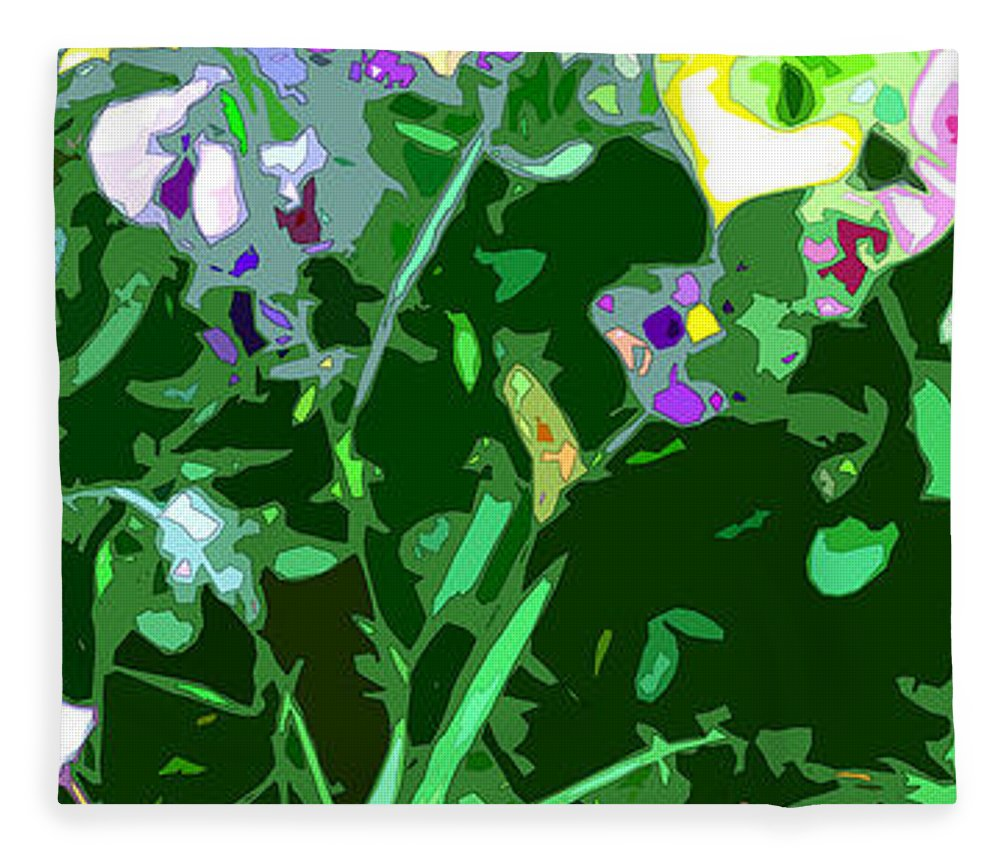 Abstract Fleece Blanket featuring the digital art Pansy Flower Garden by Linda Mears