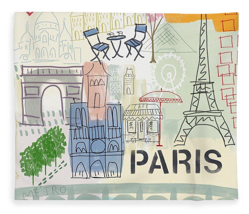 Paris Fleece Blanket featuring the painting Paris Cityscape- Art by Linda Woods by Linda Woods