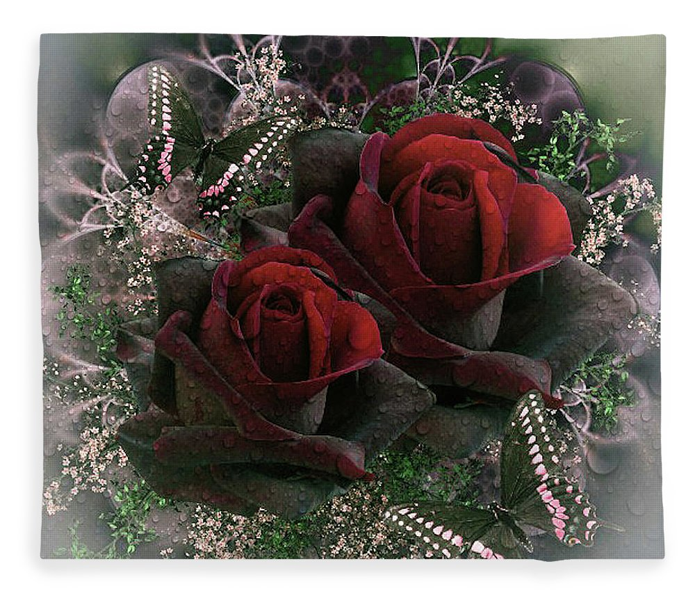 Passionate Fleece Blanket featuring the mixed media Passionate Roses by G Berry