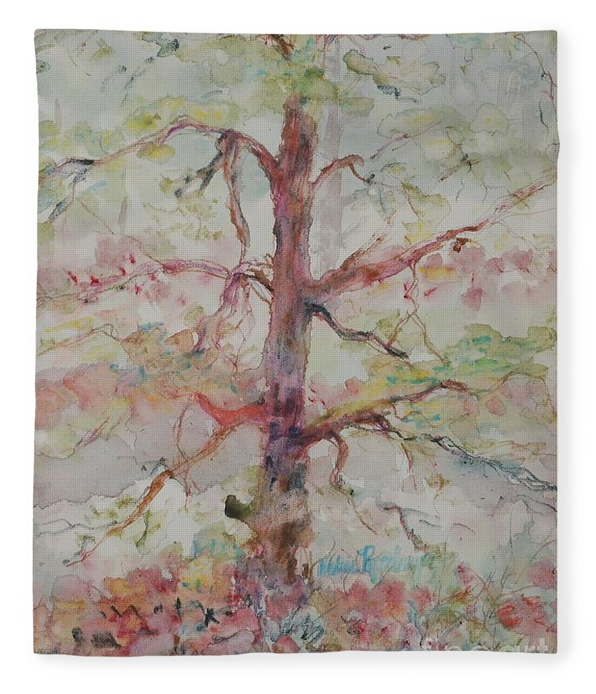 Forest Fleece Blanket featuring the painting Pastel Forest by Nadine Rippelmeyer