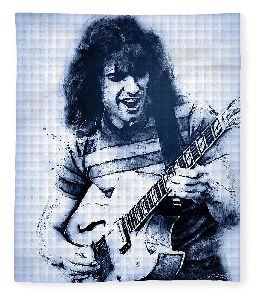 Pat Fleece Blanket featuring the painting Pat Metheny - 09 by Andrea Mazzocchetti