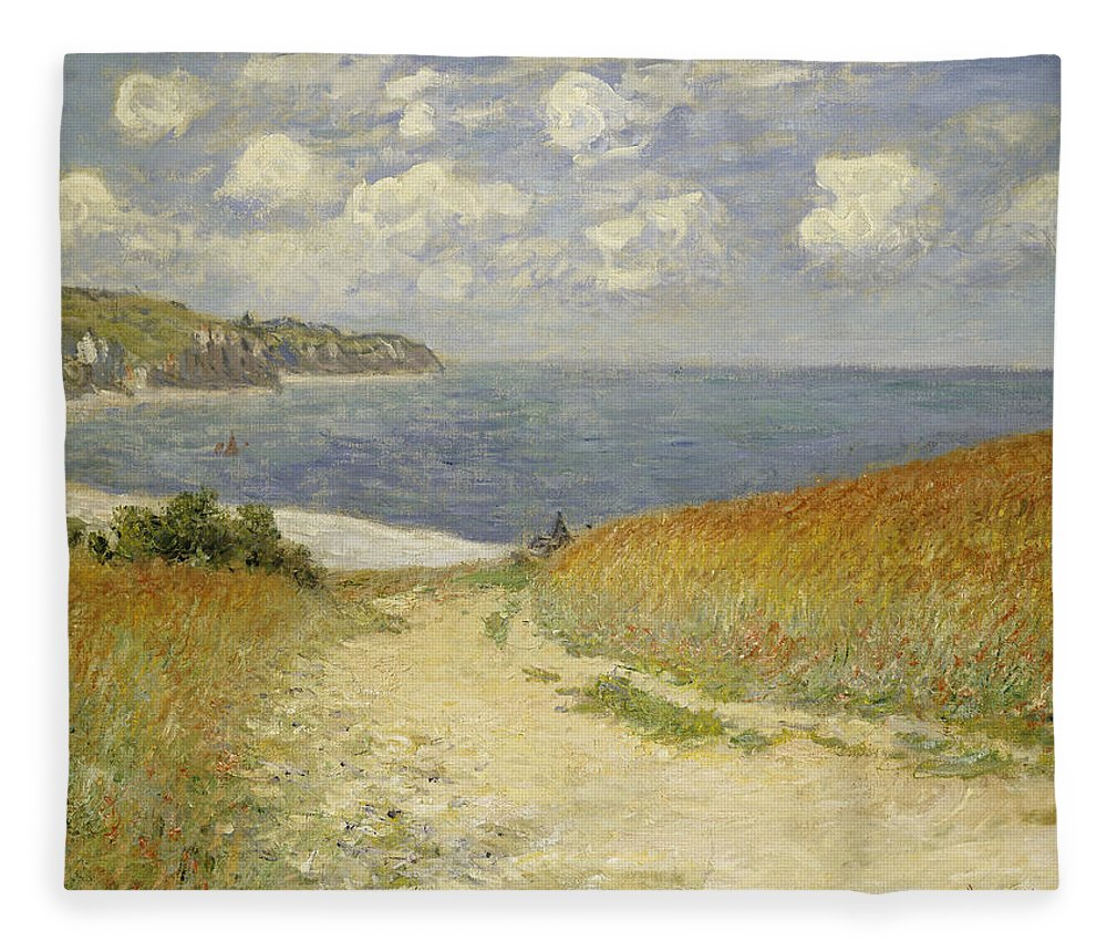 Path In The Wheat At Pourville Fleece Blanket featuring the painting Path in the Wheat at Pourville by Claude Monet