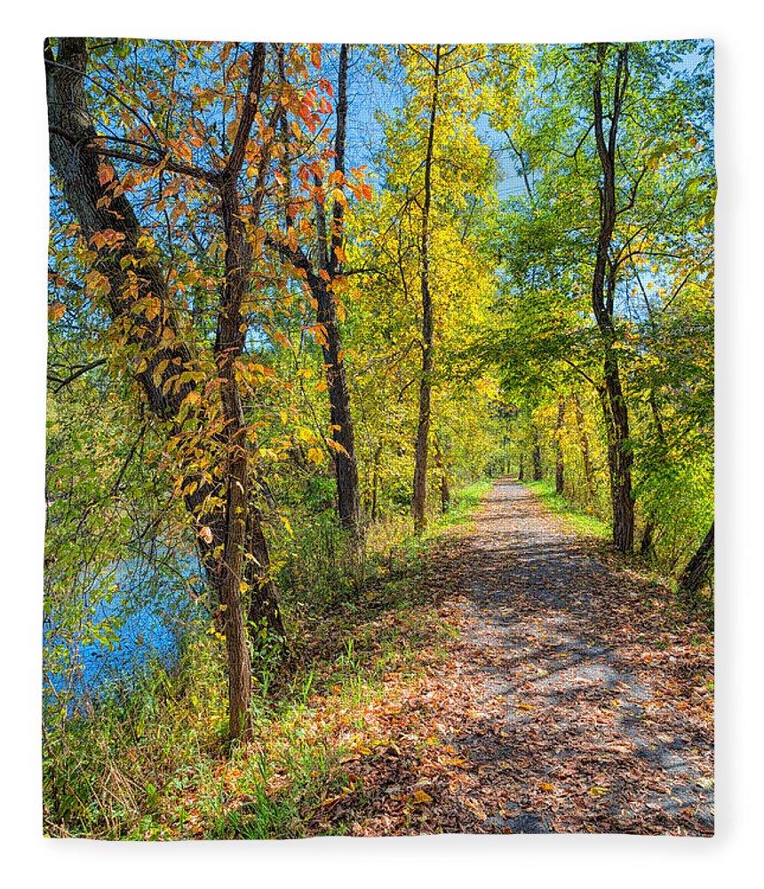Sky Fleece Blanket featuring the photograph Path Through Fall by John M Bailey