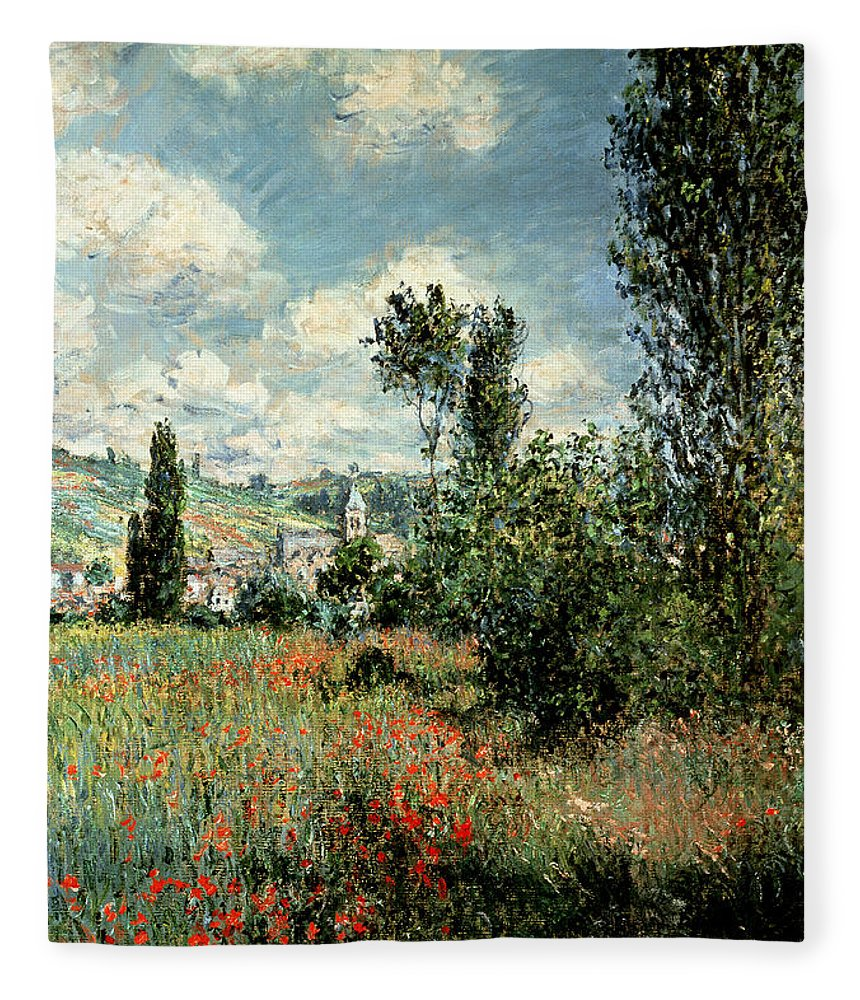 Path Fleece Blanket featuring the painting Path through the Poppies by Claude Monet