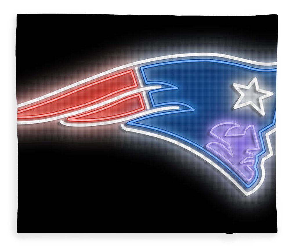 New England Fleece Blanket featuring the digital art Patriots Neon Sign by Ricky Barnard