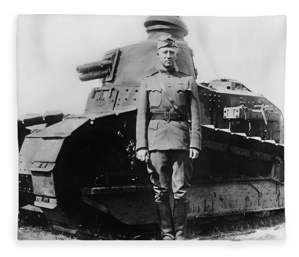 George Patton Fleece Blanket featuring the photograph Patton Beside a Renault Tank - WWI by War Is Hell Store
