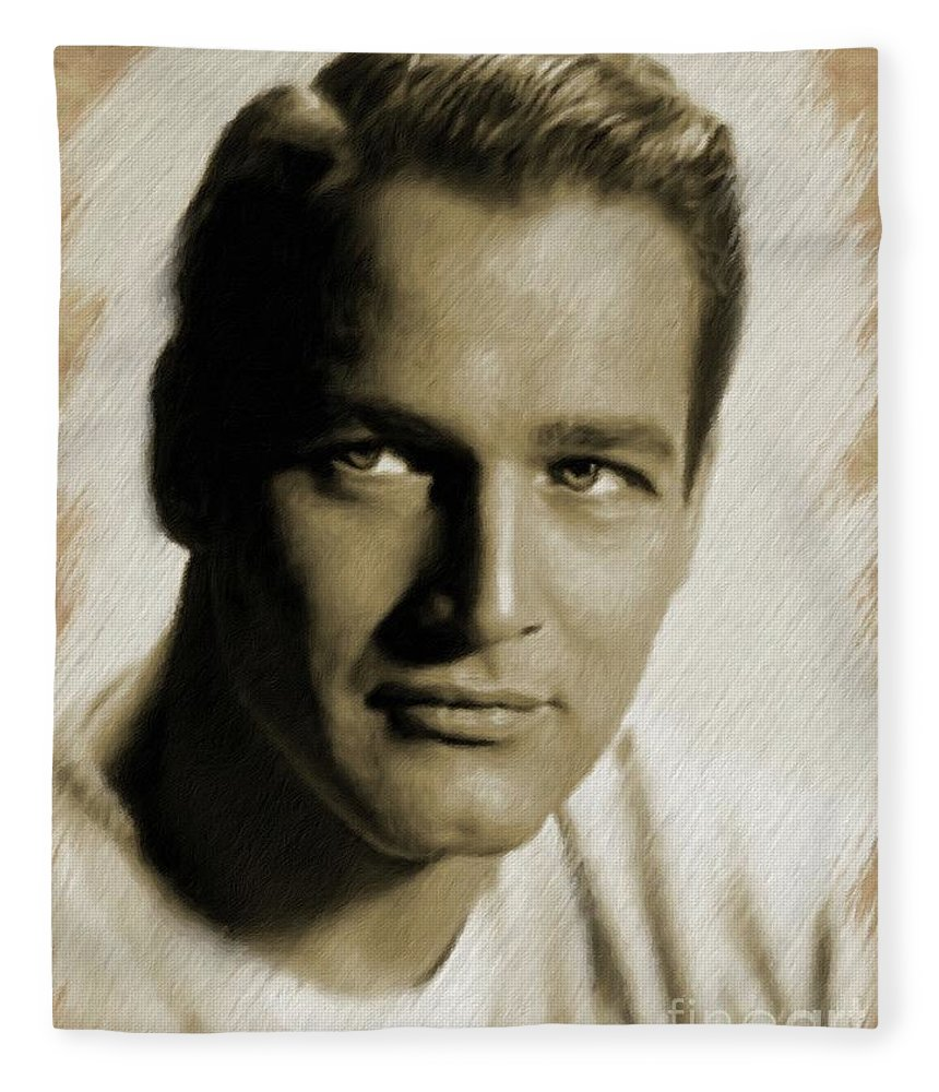 Paul Fleece Blanket featuring the painting Paul Newman, Actor by Mary Bassett