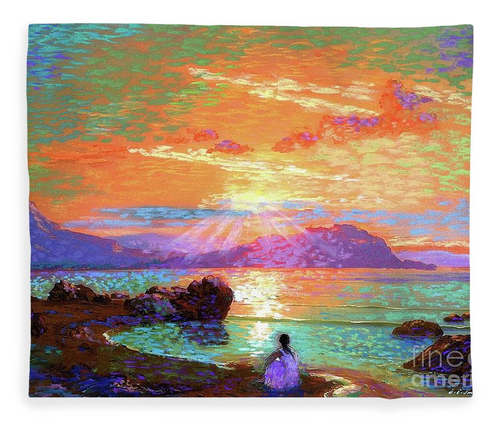 Sun Fleece Blanket featuring the painting Peace Be Still Meditation by Jane Small